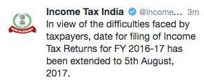 income tax dept tweet - Guide to efile Income Tax Return For AY 2017-18
