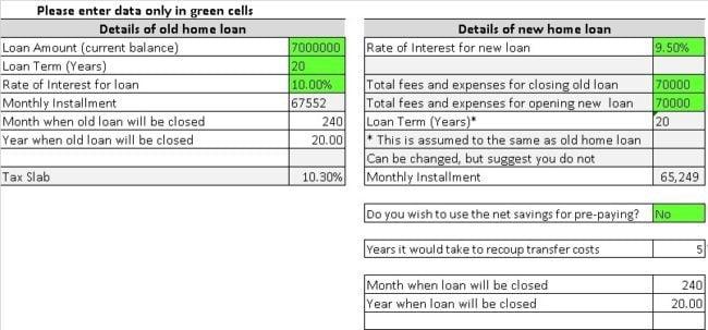 Home Loan Transfer Calculator Mortgage