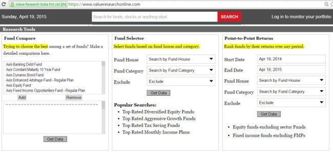 Value-research-fund-selector