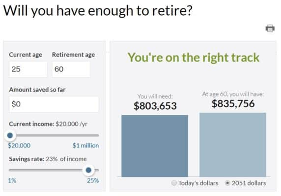 """Screenshot of CNN money """"will you have enough to retire calculator?"""""""