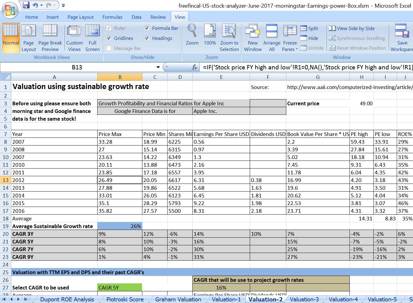 stock analysis spreadsheet for u s  stocks  free download