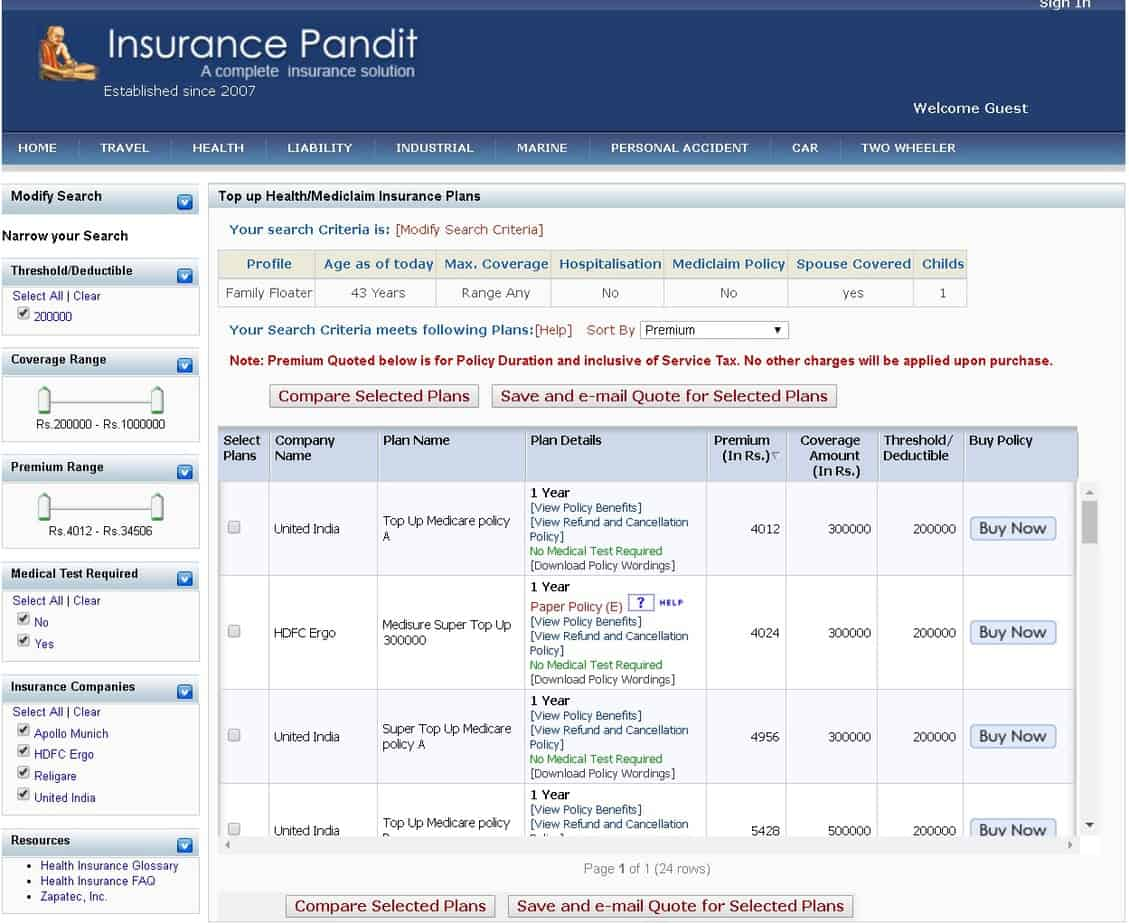 Compare Super Top Up Health Insurance Polices