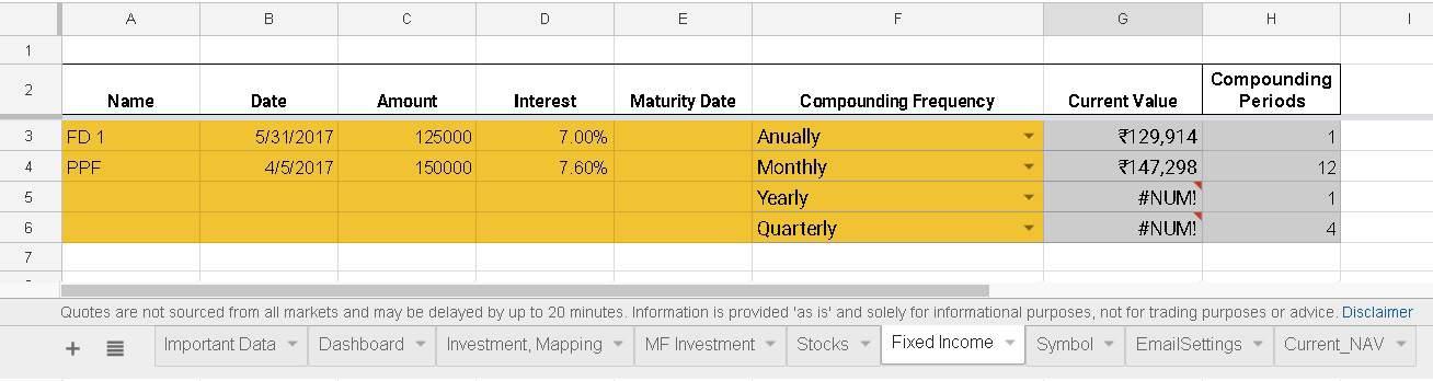 google spreadsheet portfolio tracker:fixed deposits