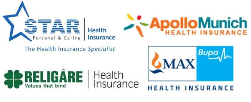 logos of Star Health, Apollo Munich, Religare Health and Max Bupa