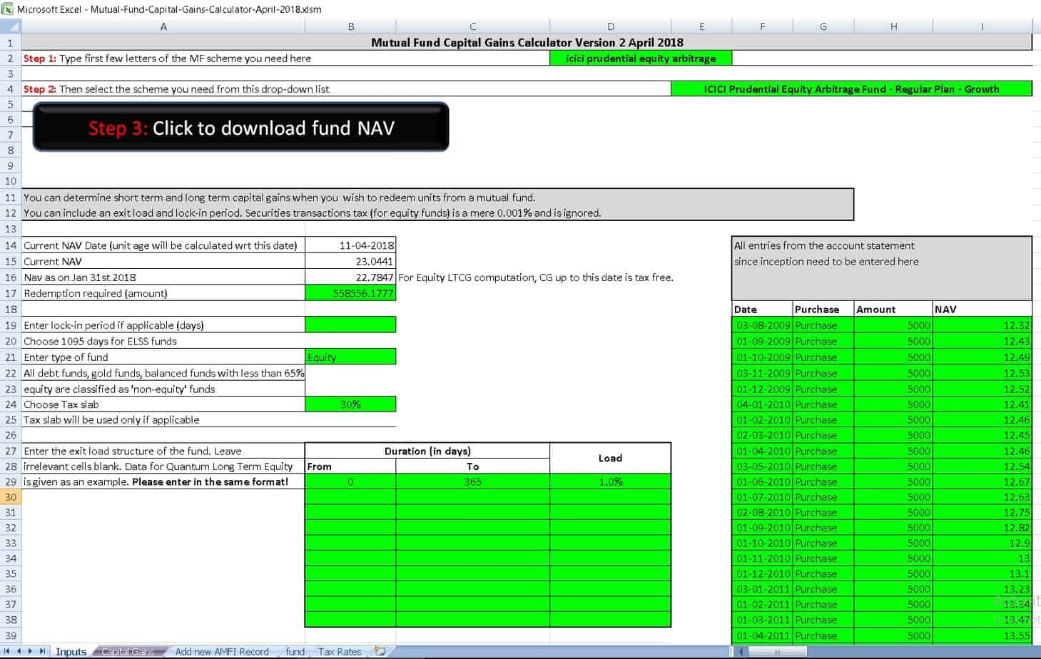 Equity-LTCG-tax-with-grandfathering-calculator-screenshot-1
