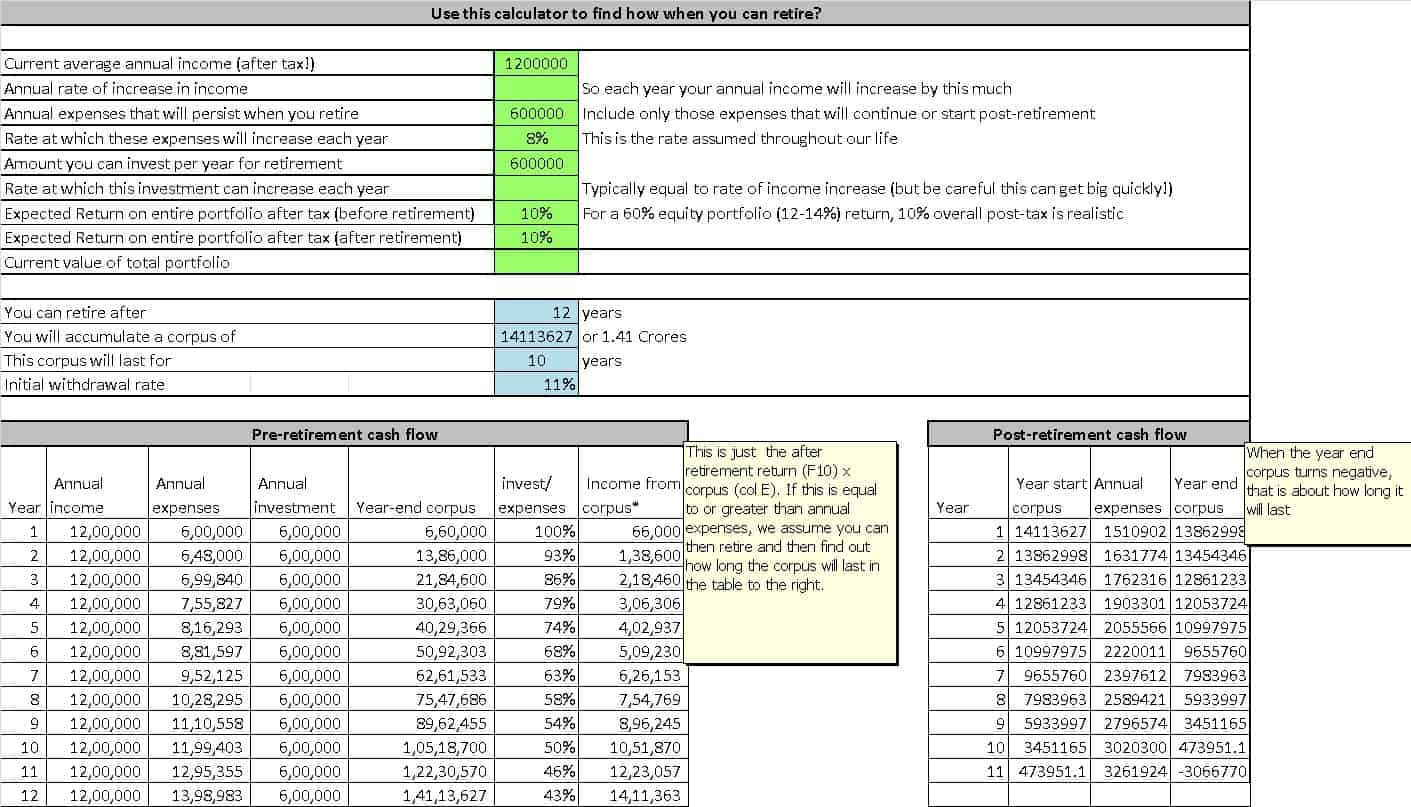 screenshot of the FIRE savings rate calculator