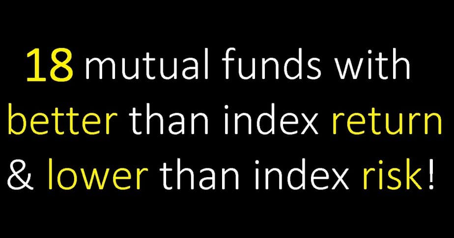 List of 18 mutual funds with better than index return & lower than index risk!