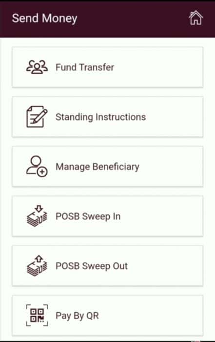 "IPPB App ""Send money"" screen options"