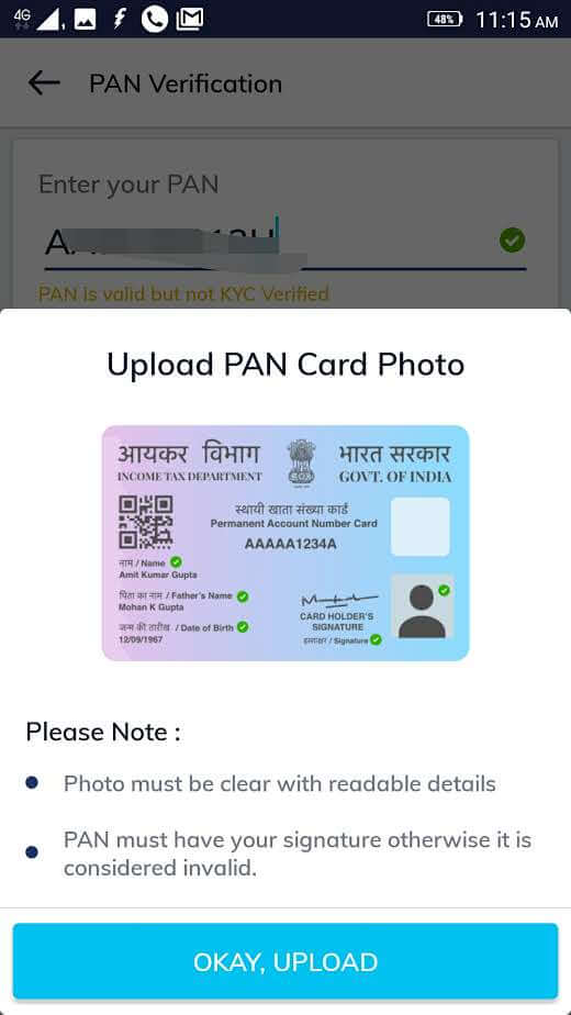 paytm money pan upload stage three screenshot