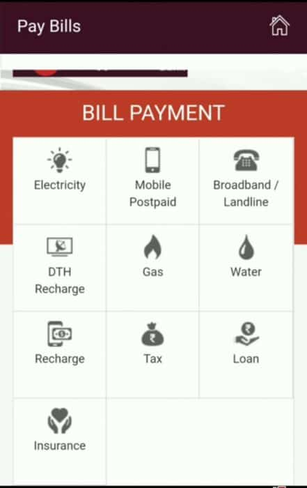 Bill Payment screen in IPPB App