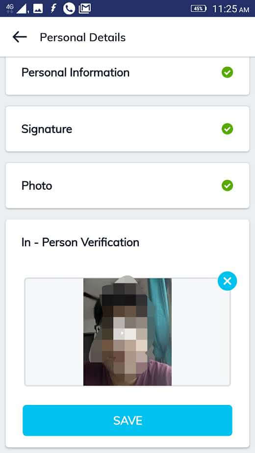 screenshot of the in person verification process for online KYC at Paytm Money