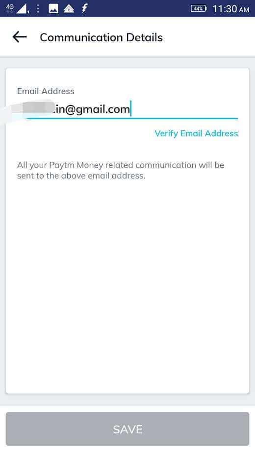 communication details screenshot in Paytm money