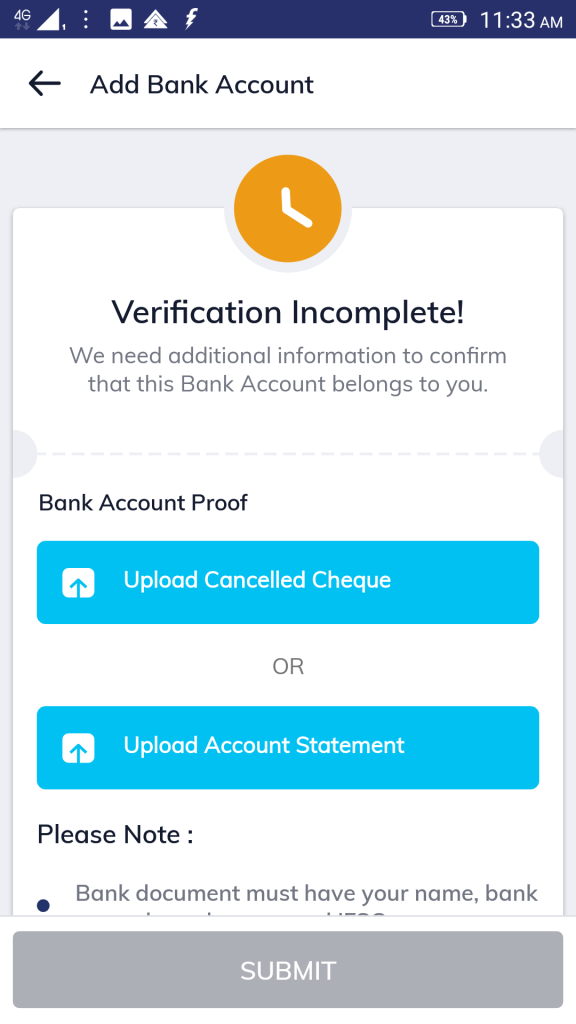 bank details for mutual fund KYC: screen three in Paytm money