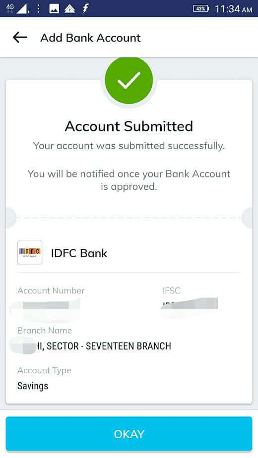bank details for mutual fund KYC: screen four in Paytm money