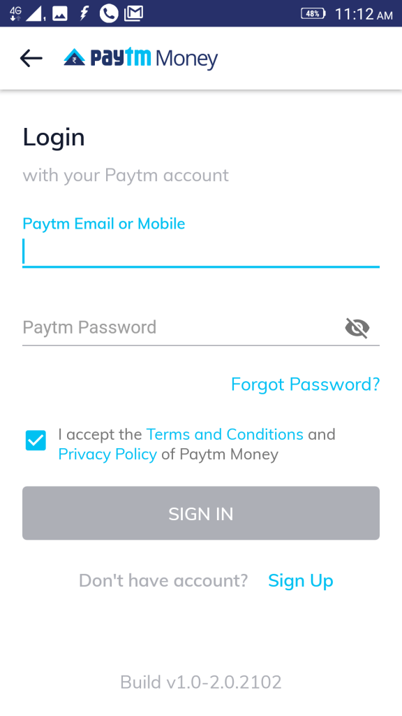 logging into Paytm money