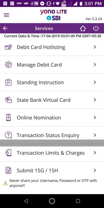 Step 2: Go to the services section of the App. Click on Generate Virtual Card.