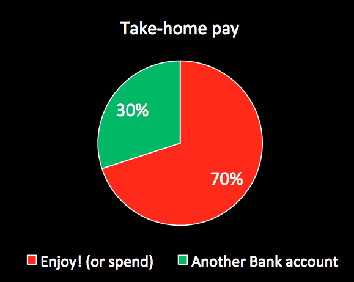 First 6 months of earning: Take home pie chart