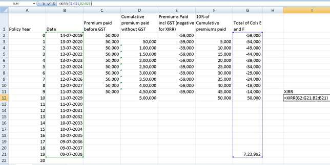 Insurance policy XIRR calculation