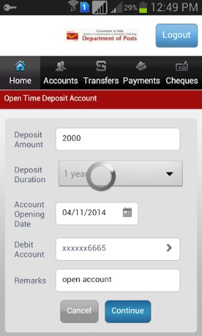 India Post Mobile Banking App Input screen to open time deposit account