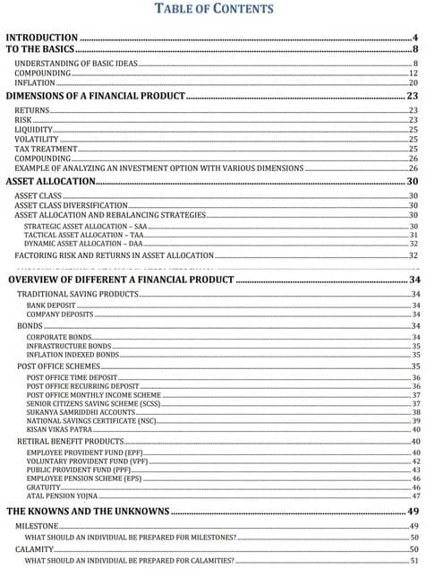 First page of the table of contents of the ebook on personal finance by Venkatesh Jayaraman