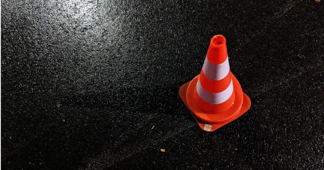 Image of a traffic cone signifying despair of the author after he met an accident on the day of his marriage and learned several money lessons