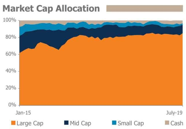 Market Cap Allocation of Mirae Asset Large Cap Fund as per Mirae AMC from Jan 2015 to July 2019