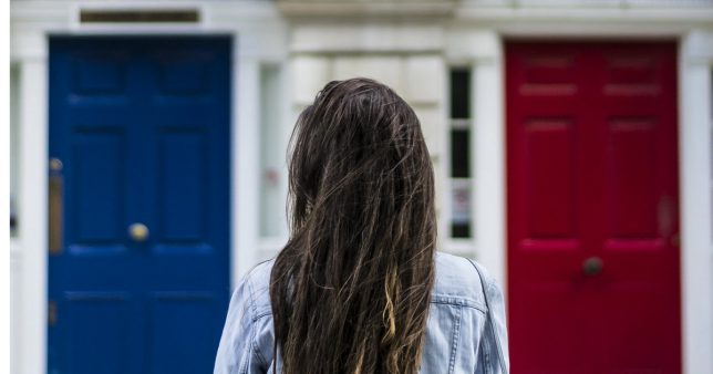 Picture of a person standing in front of two doors coloured red and blue and contemplating which one to choose. This dilemma represents the subject of this article which is about choosing between SBI ETF Nifty 50 and UTI Nifty Index Fund