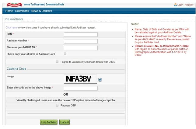 Screenshot of the form to fill for linking Pan with Aadhaar without registering at the income tax portal