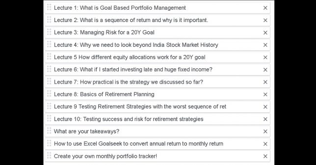 Contents of goal based portfolio management lecture series