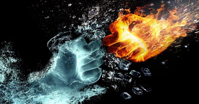 Image of two hands (fire and ice) ready to fight, representing the comparison between Mirae Asset Tax Saver Fund vs Axis Long Term Equity Fund