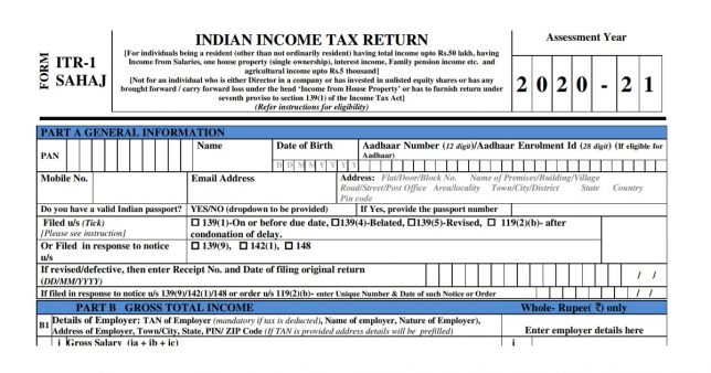 Screenshot of New ITR1 Form for AY 2020-21 (FY 2019-20)