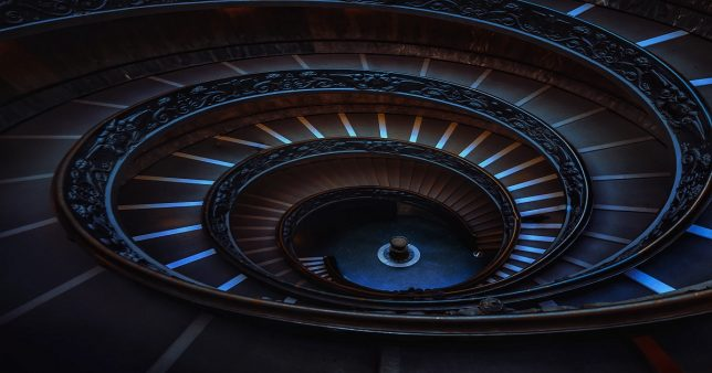 Image of a spiral staircase to signify Ten year SIP Return of Most Equity Mfs is now less than 10%