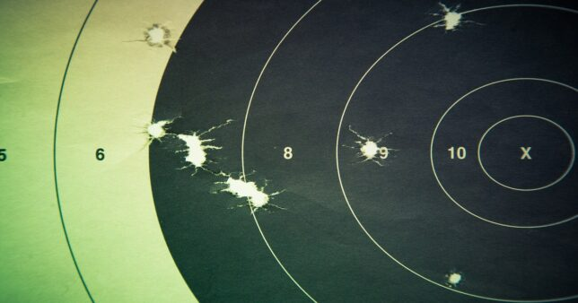 image of a target with bullet holes missing the centre representing the performance of ICICI Bluechip fund