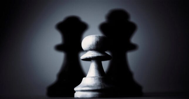 image of a pawn with the shadow of a king and queen reflecting the dominance of Nifty Next 50 index over active smallcap mutual funds