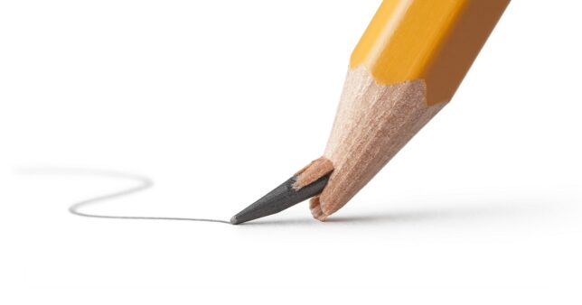 image of a broken pencil lead when it is being used representing the risk in Nifty Next 50 index funds