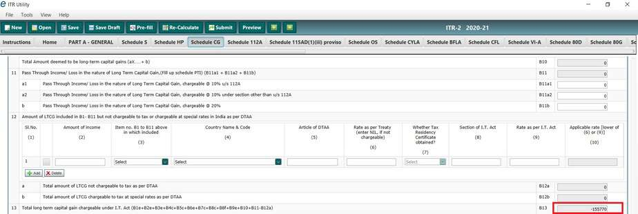 Example of chargeable total LTCG in ITR2 for FY 2020-2021