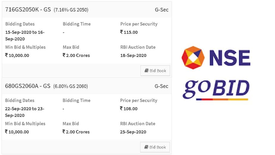 NSEGOBID GOI bonds screenshot showing two long-term bonds that could used as a pension