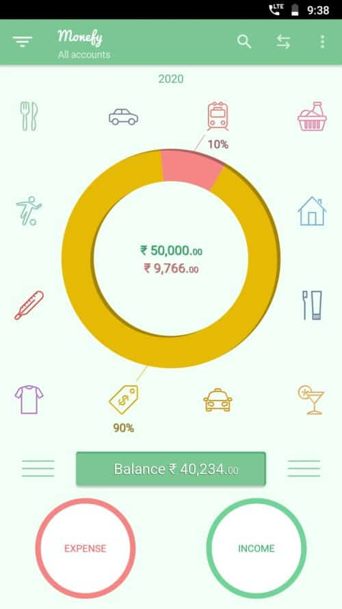 Monefy money management app screenshot