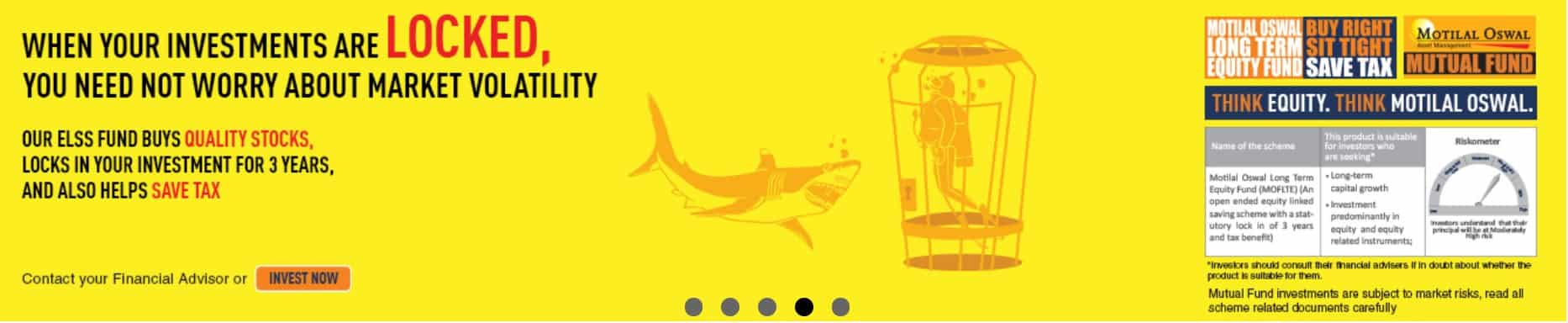 Captura de pantalla del anuncio del Fondo Motilal Oswal ELSS de su sitio web