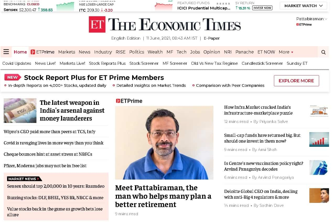 Screenshot of the Economic Times featuring Dr. M. Pattabiraman taken on 11th June 2021 at 8 43 am IST