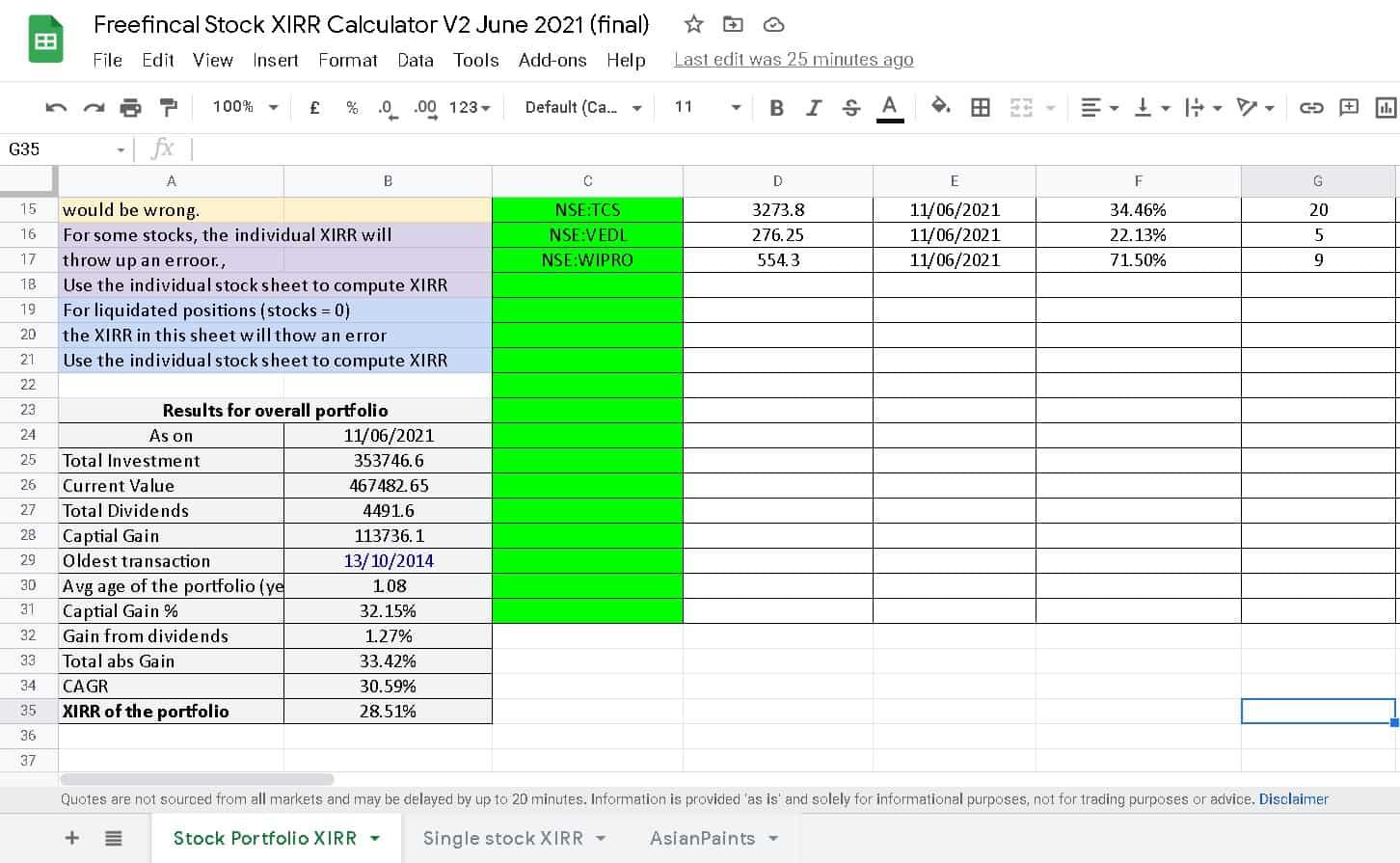 Freefincal stock XIRR calculator showing the overall portfolio XIRR results