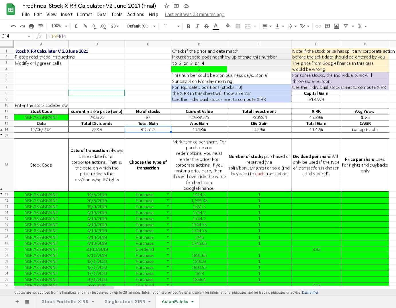 Single Stock XIRR Calculation
