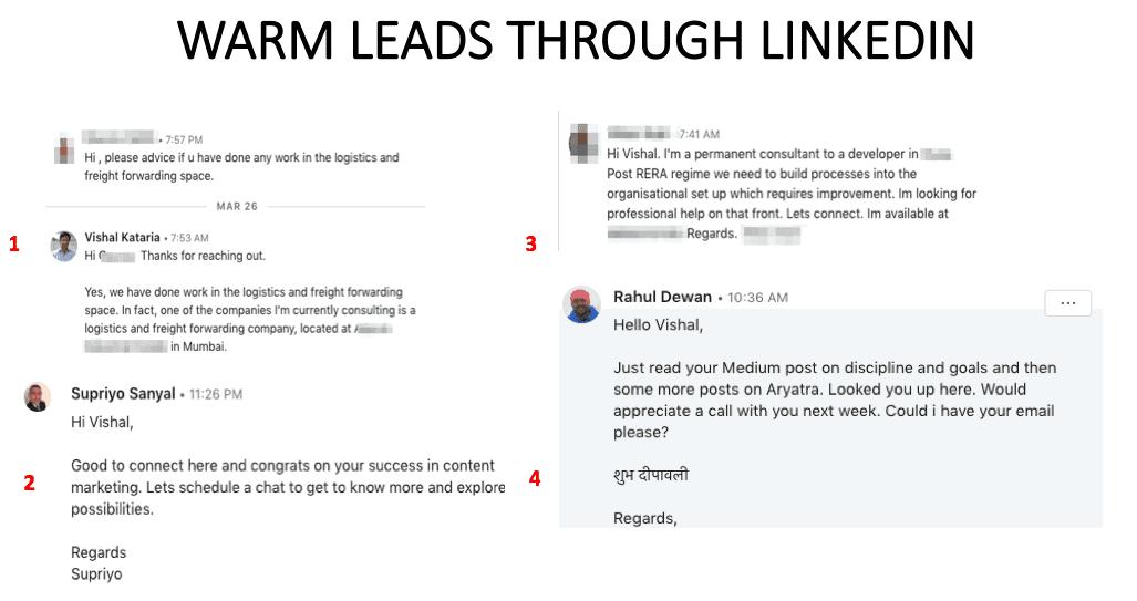Warm leads through LinkedIn