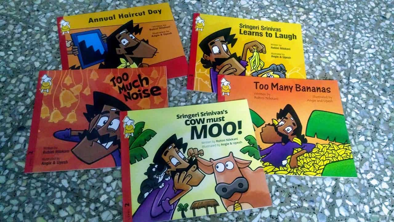 Collection of children's books used in a read-aloud session of Bee's Book Space