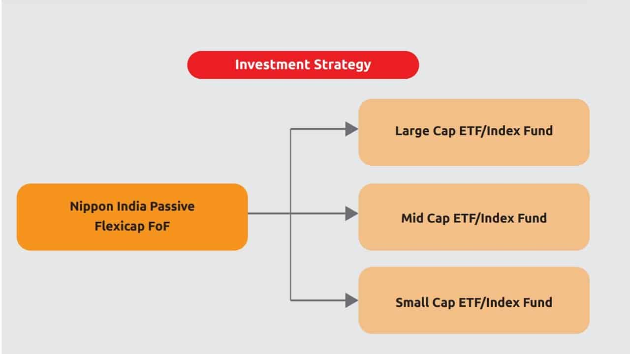 Screenshot from Nippon India Passive Flexicap FoF product presentation representing its investment strategy